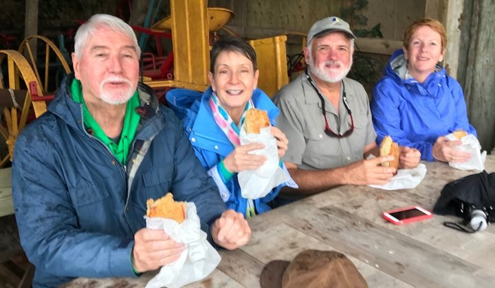 Tour Group Enjoying a Cornish pasty