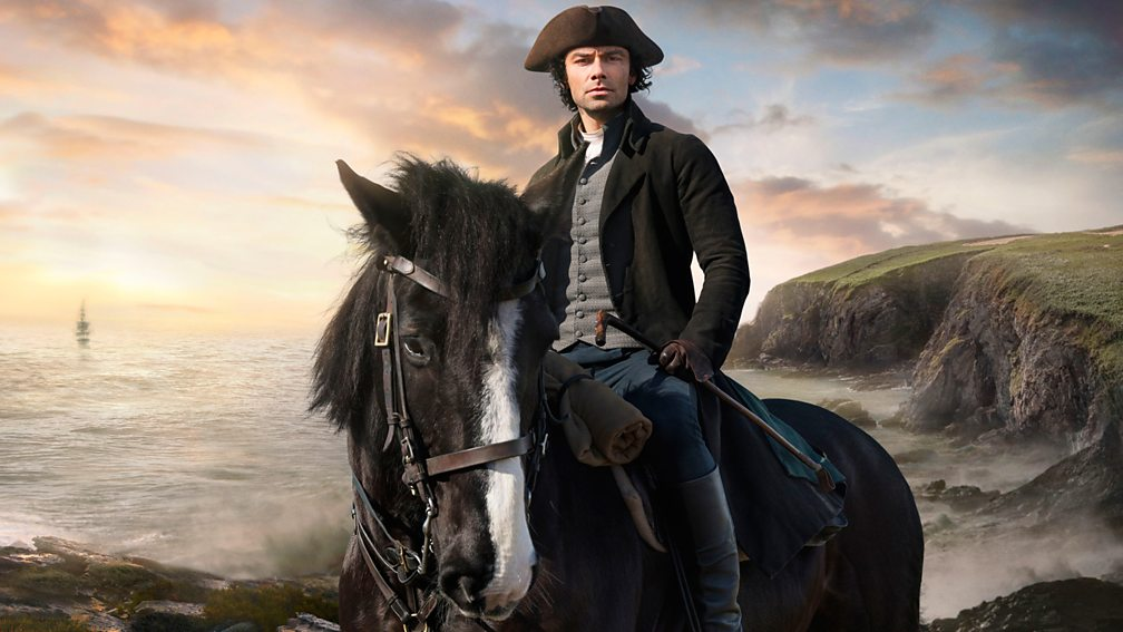 Poldark riding a horse in Cornwall